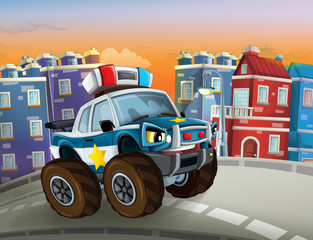 cartoon police car looking like monster truck driving through the city - illustration for children