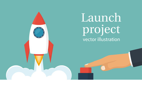 Startup working enterprise. Launch project. Business concept. Businessman hand pushing start button. Vector illustration cartoon flat design. Isolated on white background. Rocket of launch metaphor.