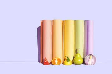 Rainbow Fruits with Rainbow Background