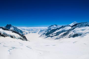 Great Aletsch Glacier, Jungfrau, Swiss Alps Snow Mountain Landscape of Switzerland.
