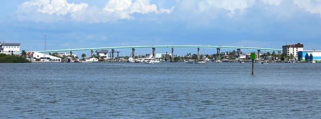 Matanzas Pass Bridge connecting Florida mainland and Estero Island.   Estero Island is an island located in Lee County, Fl, on the Gulf coast of Southwest Florida, USA.