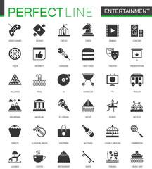 Black classic Entertainment icons set.