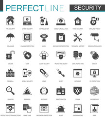 Black classic Security icons set. Protection technology icon.