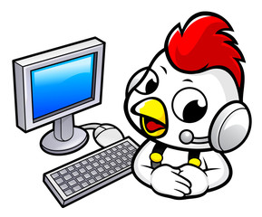 Chicken Character and Computer. Vector illustration isolated on white background.
