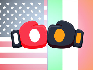 Cartoon red and black boxing glove icon, front.Vector illustration of fight of Ireland and USA.