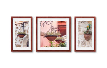 Frames set with street decoration photography. Interior decor mockup wallpaper