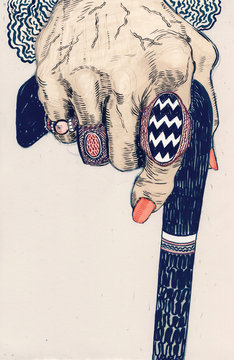 Illustration of woman's hand holding walking cane