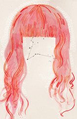 Pink and Red Woman's Hair with Constellation
