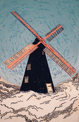 Black and Red Windmill illustration against Blue sky