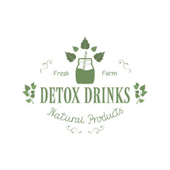Detox Fresh Farm Drinks Natural Products Logo with Leaf Isolated on White Background. Eco Badge Hand Drawn Lettering. Emblem Vector Illustration for Web Graphic Design, Print, Logotype, Brand, Symbol.