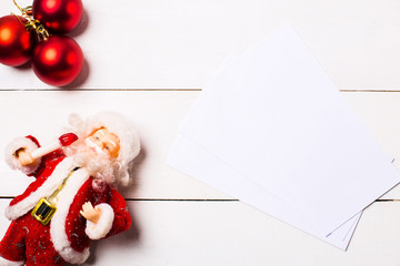 A collection of Christmas decorations for a template template. View from above. Beautiful christmas gifts, christmas decorations