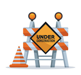 white background with barricade traffic signal text under construction and cone vector illustration
