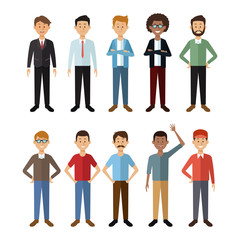 white background with full body group male people of the world vector illustration