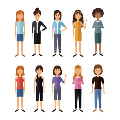 white background with full body group female people of the world vector illustration