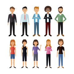 white background with full body group of men and women people of the world vector illustration