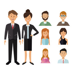 white background with full body executive couple and half body icons group people of the world diversity vector illustration