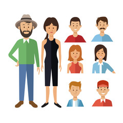 white background with full body casual clothing couple and half body icons group people of the world diversity vector illustration