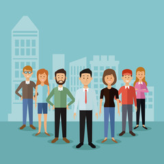 color background with full body group people standing and city landscape silhouette behind vector illustration