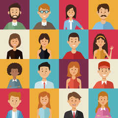 colorful background of square buttons with half body group people of the world diversity vector illustration