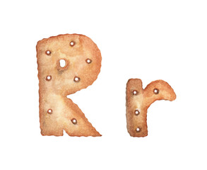 Cookie letter R on white background. Cookie font. Food sign ABC