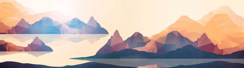 Geometric Coast Mountains and Sunset Background Panorama - Vector Illustration