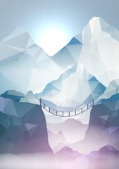 Hangbridge in the Mountains - Vector Illustration