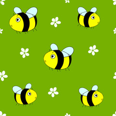 Cute seamless pattern with cartoon bumble bees and white flowers on green background. Vector