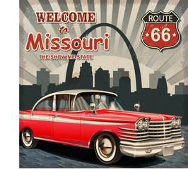 Fotobehang Route 66 Welcome to Missouri retro poster