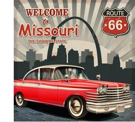 Foto auf AluDibond Route 66 Welcome to Missouri retro poster