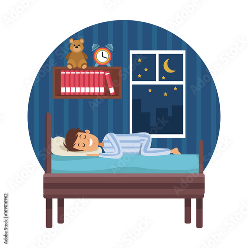 White Background With Circular Colorful Scene Boy Sleep In Bedroom