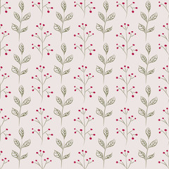 Hand drawn branches. Seamless botanical background with branches and berries