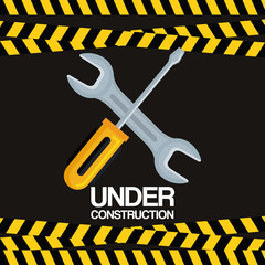 under construction screwdriver and wrench tools equipment support vector illustration