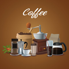 color poster of set elements coffee preparation and container for packaging vector illustration
