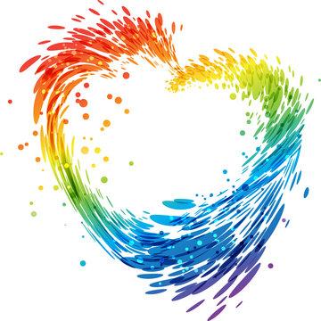 Splash multicolored heart on white