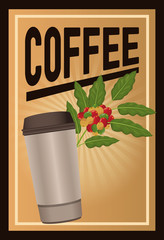color poster coffee with linear glow and glass disposable for hot drinks vector illustration