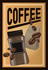color poster coffee with linear glow and glass container of coffee with handle and beans with package vector illustration
