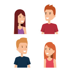 young people face portraits from woman and man vector illustration