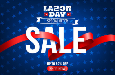 Happy Labor Day background.Labor Day Sale promotion advertising banner template.American labor day wallpaper.Vector illustration.