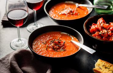 Bowls of Tomato Soup