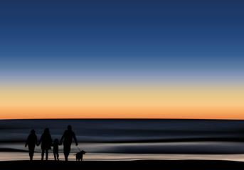 océan - vague - famille - crépuscule - coucher de soleil