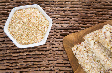 Grains and amaranth bar (Amaranthus)