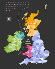 British Isles map colored by countries. Vector