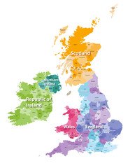 British Isles map colored by countries and regions