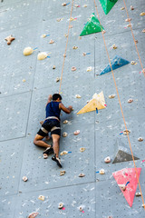 Athletic man climbing a wall , Sports Extreme Climbing