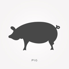 Silhouette icon pig