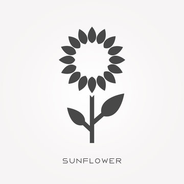 Silhouette icon sunflower