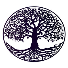 A tattoo is a tree of life. Beautiful tree with dense roots, purple gradient
