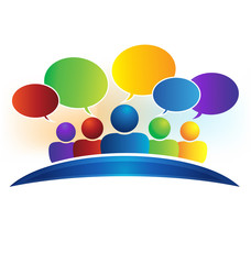 Business social media network speech bubbles talking people logo vector image