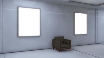 3d rendering. Floor, wall and armchair