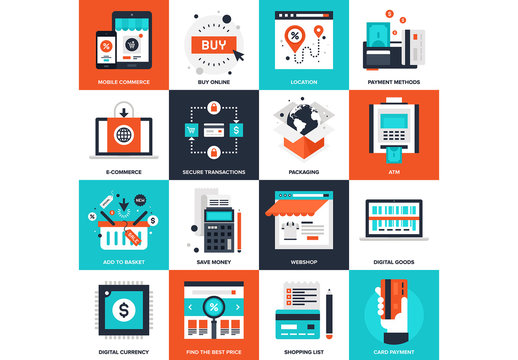 16 Four-Color Square Shopping Icons 1